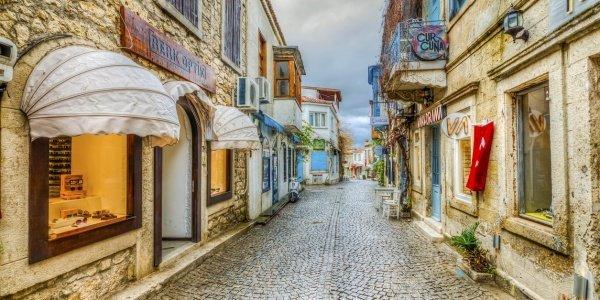 Alacati Town street view. Alacati is populer tourist destination in Turkey.